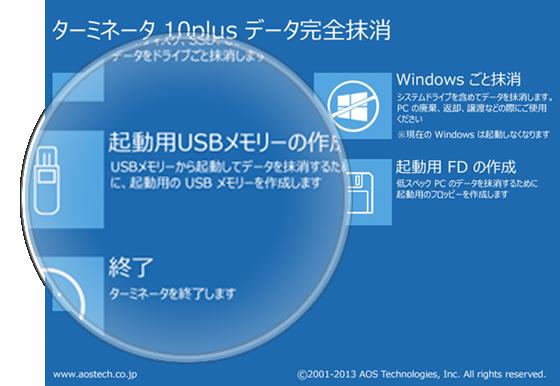 1クリック、USBメモリー作成機能